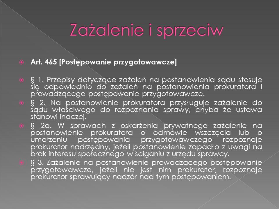 Zażalenie i sprzeciw Art. 465 [Postępowanie przygotowawcze]